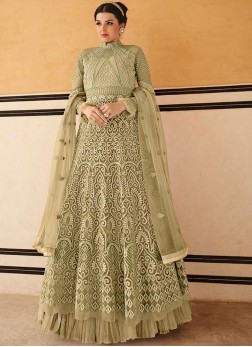 Eye-Catchy Net Green Embroidered Anarkali Salwar Kameez