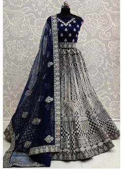 Eye-opening Double Dori Embroidery Designer Blue Bridal Lehenga Choli