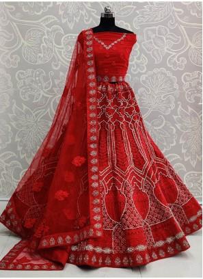 Eye-opening Double Dori Embroidery Designer Red Bridal Lehenga Choli