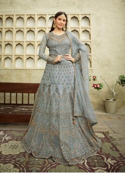 Fabulous Cadet Blue Embroidery Anarkali Style Suit With Dupatta
