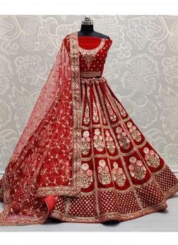 Fabulous Designer Work on Heavy Velvet Bridal Lehenga Choli In Red