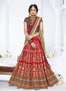 Fabulous Net Embroidered Red Designer Lehenga Choli