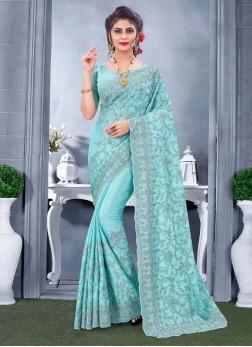 Fabulous Resham & Embroidery Work On Saree In Aqua Blue