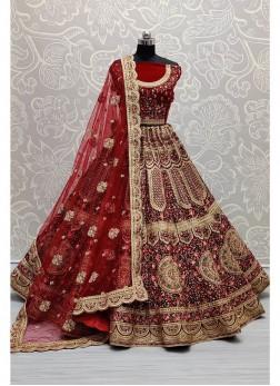 Fairness maroon velvet bridal lehenga choli