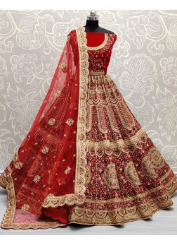 Fairness red velvet bridal lehenga choli