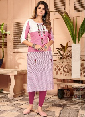 Famous Hand Embroidery Straight Kurti In Pink - White