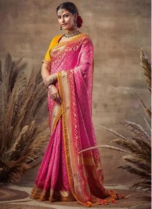 Famous Rani-Gold Siroski Diamond Pallu Pure Soft Silk
