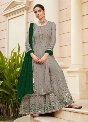 Famous Wedding Wear Mirror Work On Salwar Suit In Silver - Green