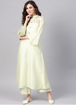 Fancy Chanderi Party Wear Kurti in White