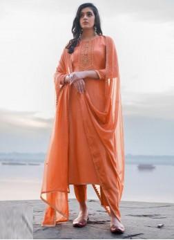 Fancy Embroidery Georgette Pant Style Salwar Suit In Orange