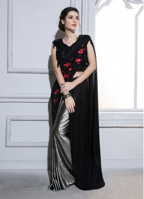 Fancy Fabric Classic Saree in Black
