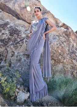 Fancy Fabric Classic Saree in Silver