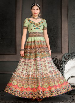Fancy Fabric Designer Gown in Multi Colour