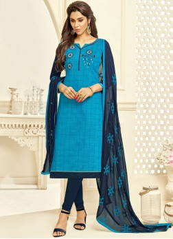 Fancy Fabric Embroidered Churidar Suit in Blue