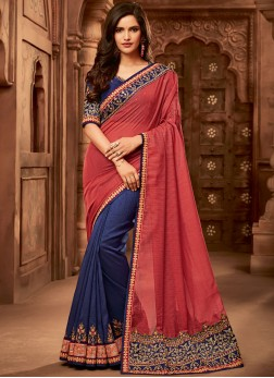Fancy Fabric Half N Half Designer Saree in Blue and Red