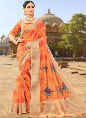 Fancy Fabric Orange Designer Traditional Saree