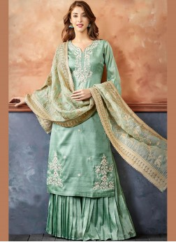 Fancy Fabric Sea Green Embroidered Readymade Suit