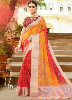 Fancy Fabric Weaving Multi Colour Shaded Saree