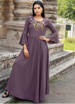 Fancy Fabric Woven Lavender Designer Kurti