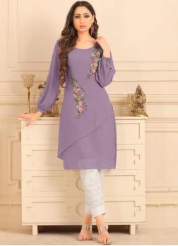 Fancy Faux Georgette Party Wear Kurti in Purple