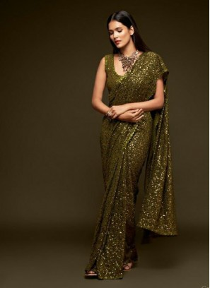 Fancy Multiple Sequins Embroidery Saree In Olive Green