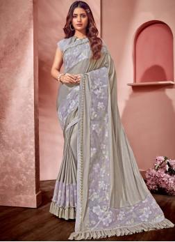 Fancy Net Saree in Grey