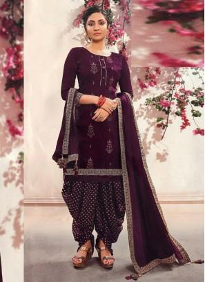 Fancy Wear Delicate Patiala Style Salwar Suit On Full Wine