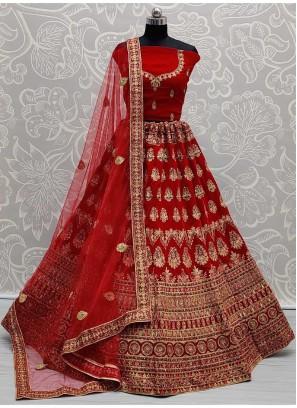 Fantabulous Red Bridal Heavy work Sober Velvet Lehenga Choli