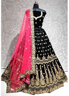 Fantabulous Wedding Wear Thread & Dori Work On Lehenga Choli In Green