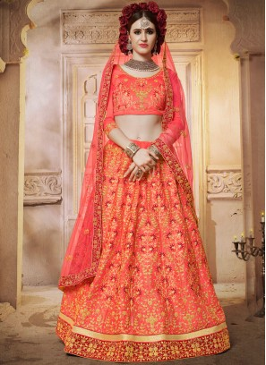 Fantastic Diamond Satin Silk Hot Pink Designer Lehenga Choli