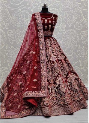 Fantastic Pattern Embroidered Designer Bridal Lehenga Choli In Dark Maroon