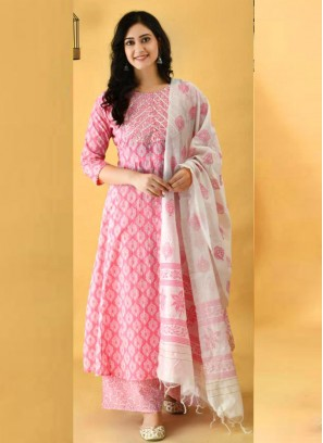 Fascinate Anarkali Style Cotton Salwar Suit In Pink With Dupatta