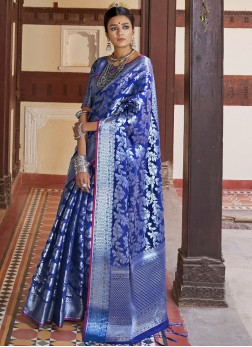 Fascinating Art Silk Blue Traditional Saree