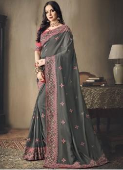 Fascinating Embroidered Art Silk Grey Classic Saree