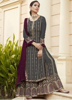 Fascinating Mirror Work Wedding Wear Salwar Suit In Grey - Wine
