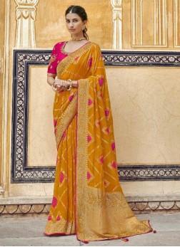 Fascinating Mustard & Rani Designer Pure Dola Silk Saree