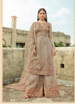 Fascinating Silver Embroidery Designer Salwar Suit With Palazzo