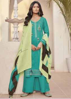 Fashionable Linen Abstract Print Sea Green Designer Pakistani Suit