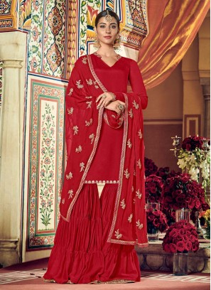 Fashionable Sharara Style Embroidery Heavy Dupatta With Suit In Red