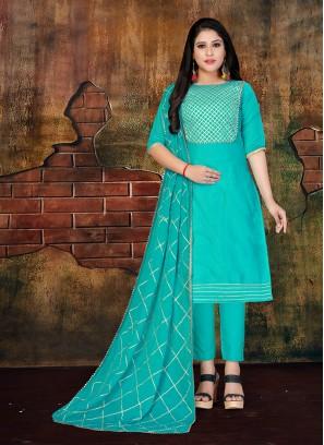 Faux Chiffon Aqua Blue Designer Salwar Kameez