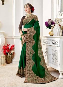 Faux Georgette Classic Designer Saree in Green
