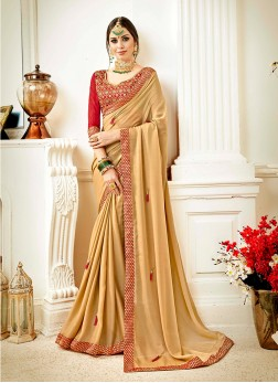 Faux Georgette Classic Saree in Beige