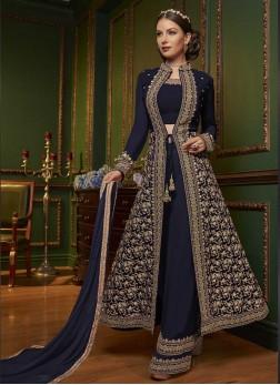 Faux Georgette Designer Pakistani Suit in Navy Blue