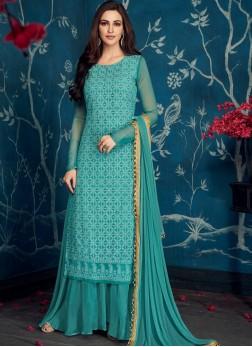Faux Georgette Designer Palazzo Salwar Suit in Aqua Blue