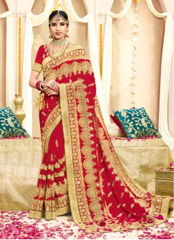 Faux Georgette Embroidered Classic Designer Saree in Red