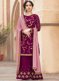 Faux Georgette Embroidered Magenta Designer Pakistani Suit
