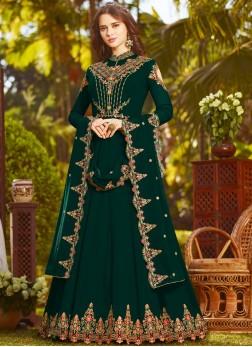 Faux Georgette Green Resham Floor Length Anarkali Suit