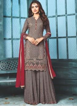Faux Georgette Grey Resham Designer Pakistani Suit