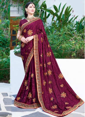 Faux Georgette Patch Border Classic Designer Saree in Wine