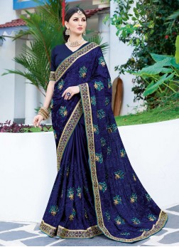 Faux Georgette Patch Border Classic Saree in Blue